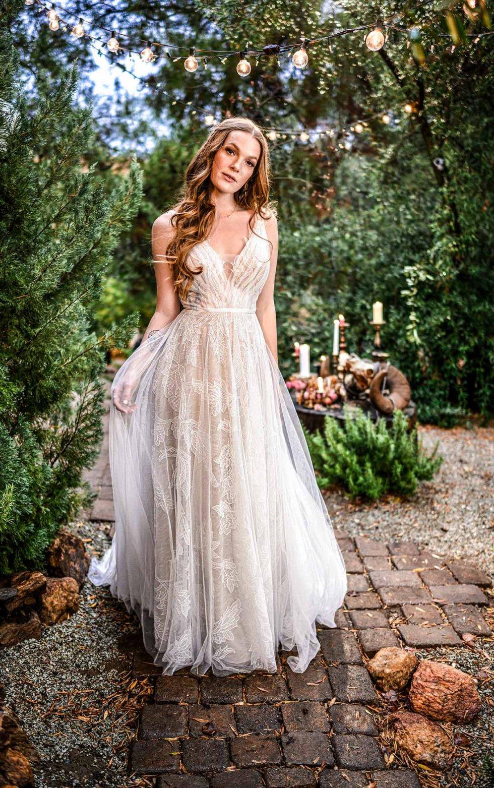 Beach Boho Wedding Dress With V Neckline   Dress Me Pretty